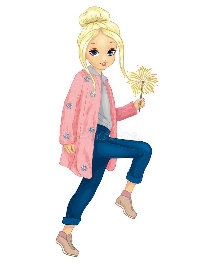 La fille en fourrure rose tient le cierge magique illustration de vecteur