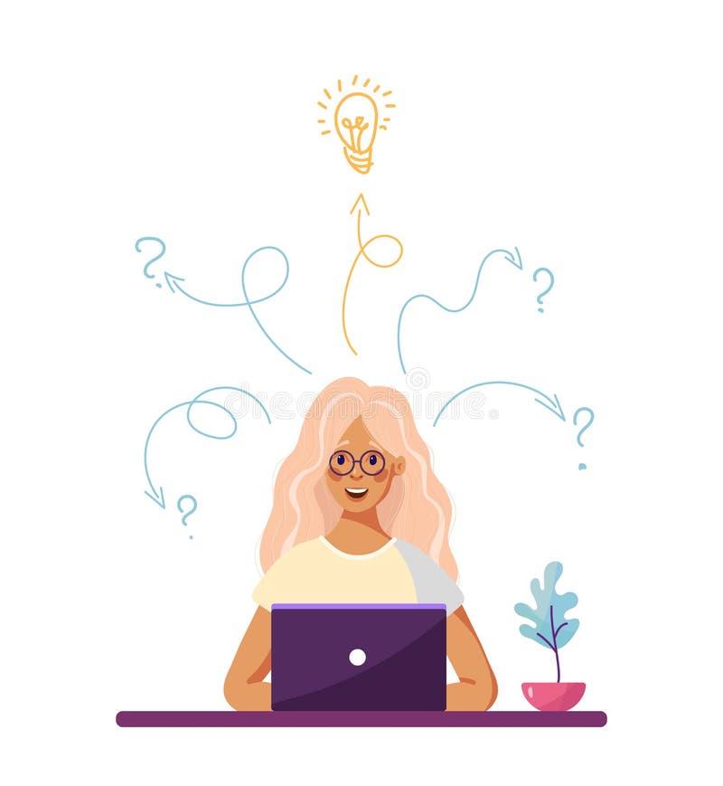 La fille en verres travaille derrière un ordinateur portable Résolvant des problèmes ou des questions dans le travail, trouvant d illustration de vecteur