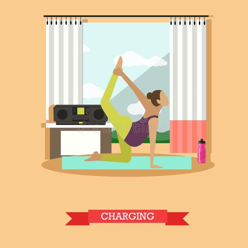 La fille enceinte faisant le matin s'exerce, conception plate illustration de vecteur