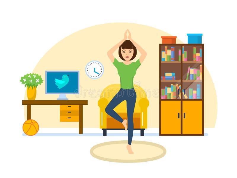 La fille est engagée dans le yoga et des exercices dans la chambre à coucher illustration de vecteur