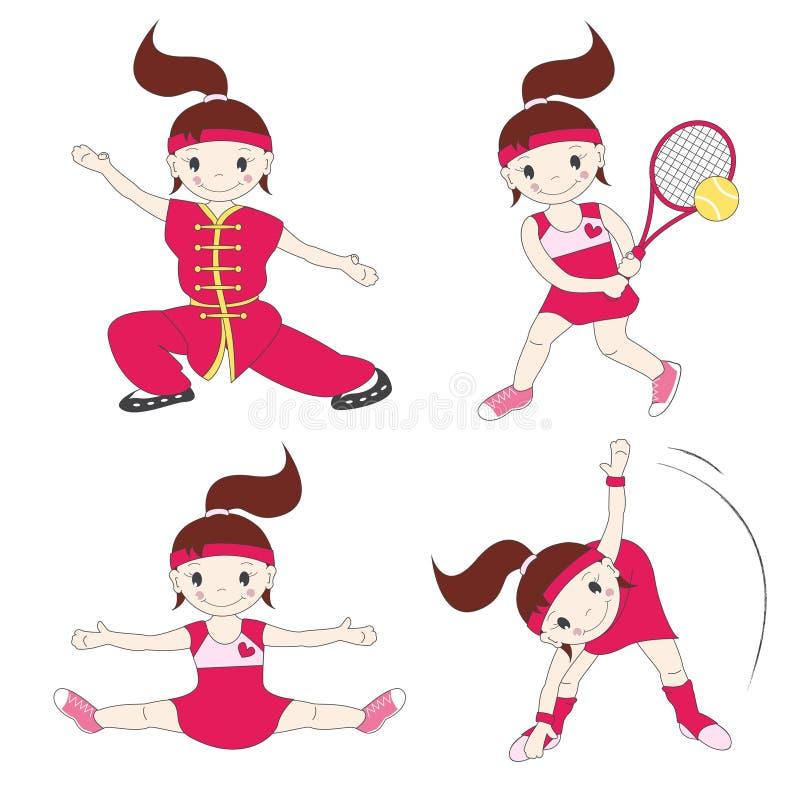 La fille est engagée dans les sports illustration libre de droits