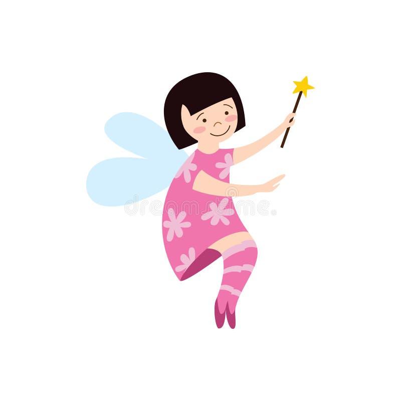 La fille féerique mignonne dans une robe rose avec l'illustration plate de vecteur de baguette magique magique a isolé illustration de vecteur