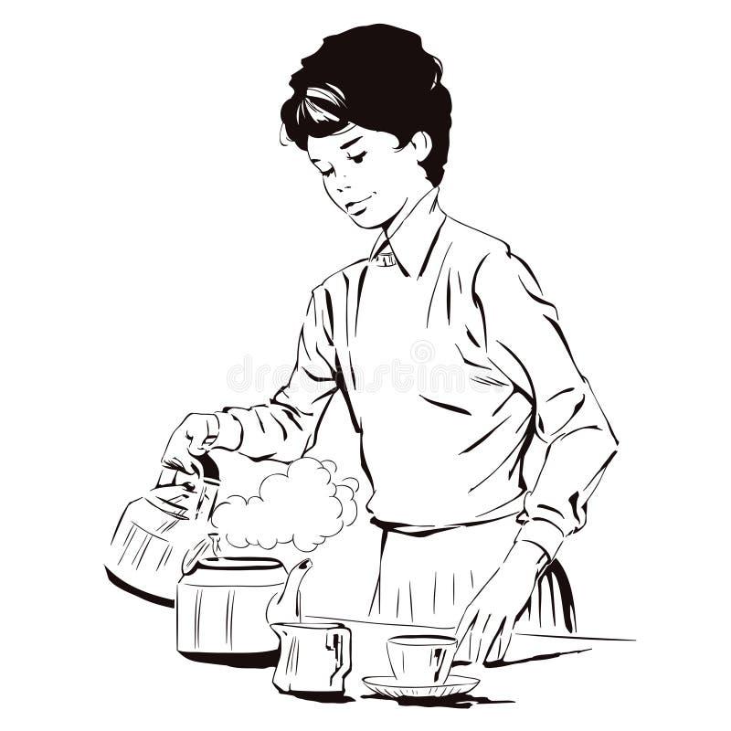 La fille fait à petit déjeuner l'illustration courante illustration libre de droits