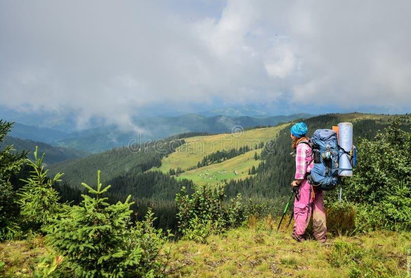La fille fait la photo de paysage avec l'aide du smartphone Le paysage contient le crépuscule au-dessus de la mer et des montagne photos libres de droits
