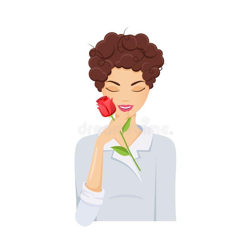 La fille, fleur émouvante, compare la peau lisse aux pétales des fleurs illustration stock