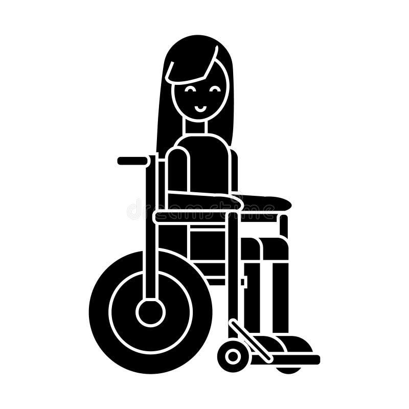 La fille handicapée dans l'icône de fauteuil roulant, illustration de vecteur, se connectent le fond d'isolement illustration libre de droits