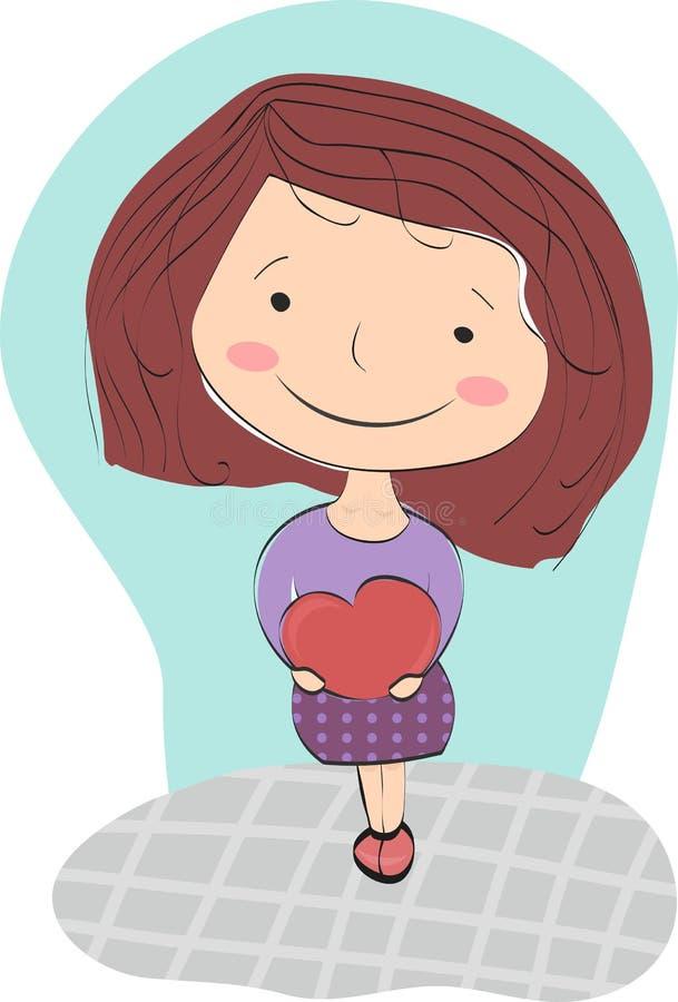 La fille heureuse avec les cheveux bruns presse à elle-même le grand coeur illustration libre de droits