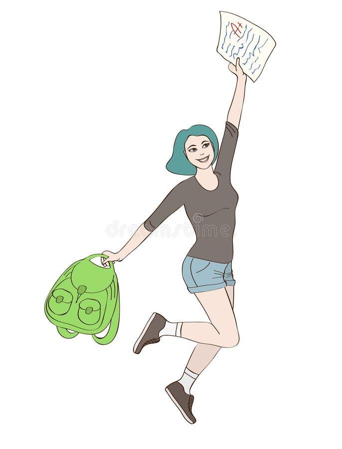 La fille heureuse d'étudiant saute illustration stock