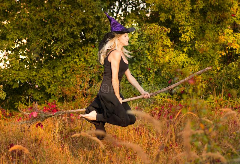 La fille heureuse dans le costume de sorcière vole sur le manche à balai photographie stock libre de droits