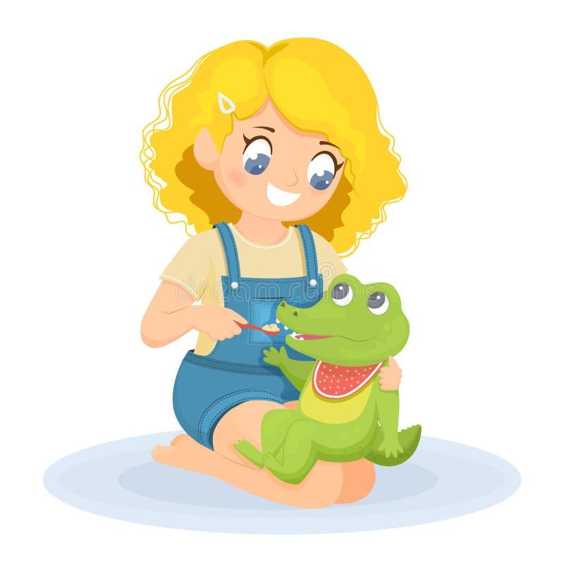 La fille joue avec un jouet La fille alimente le crocodile illustration stock
