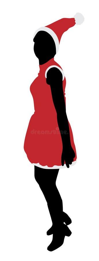 La fille joyeuse de Santa saute illustration libre de droits