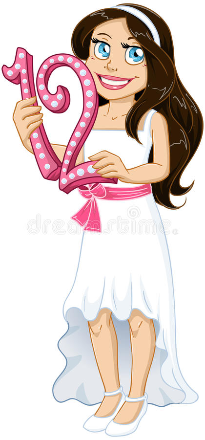 La fille juive tient le numéro douze pour le Mitzvah de batte illustration libre de droits