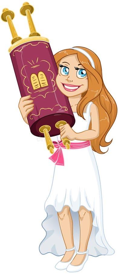 La fille juive tient Torah pour le Mitzvah de batte illustration stock