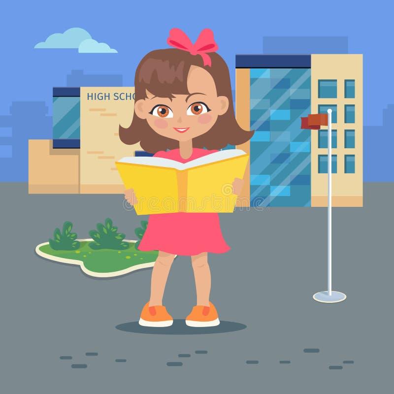 La fille lit le livre près du bâtiment de lycée d'isolement illustration stock