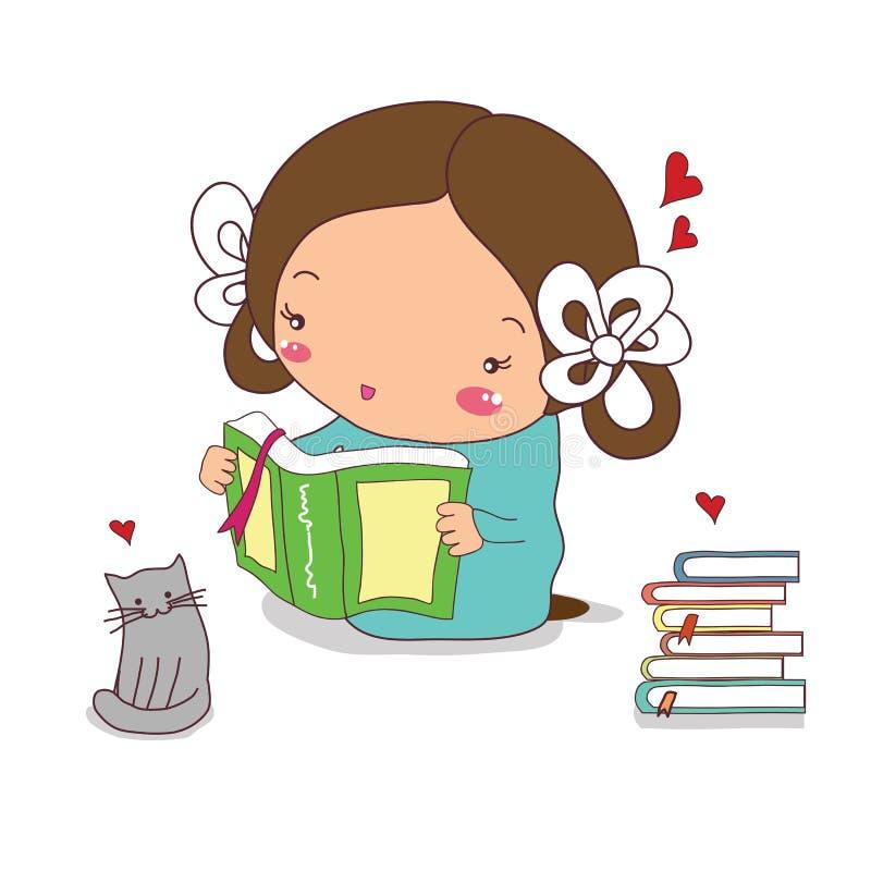 La fille lit un livre, et à côté de elle est un chat gris illustration de vecteur