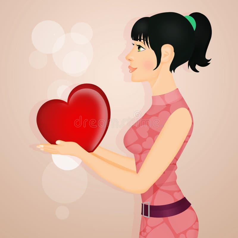 La fille lui donne le coeur illustration stock