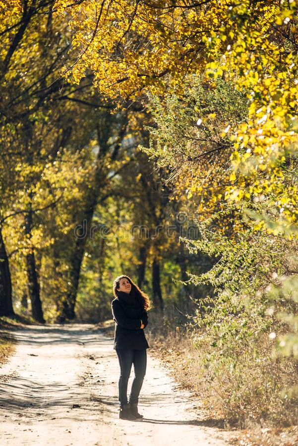 La fille marche en beau parc d'automne photographie stock