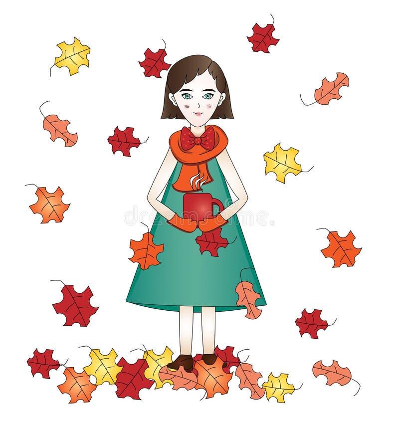 La fille mignonne élégante d'automne avec la tasse chaude de thé sur un fond blanc avec la chute lumineuse part illustration stock