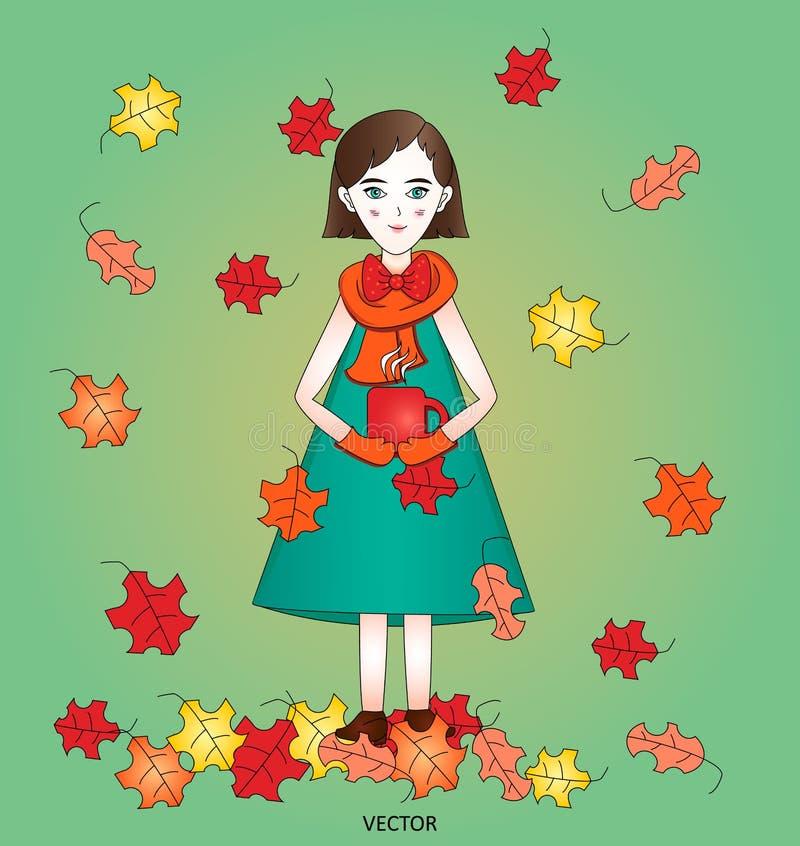 La fille mignonne élégante d'automne avec la tasse chaude de thé sur un fond vert avec la chute lumineuse part illustration libre de droits