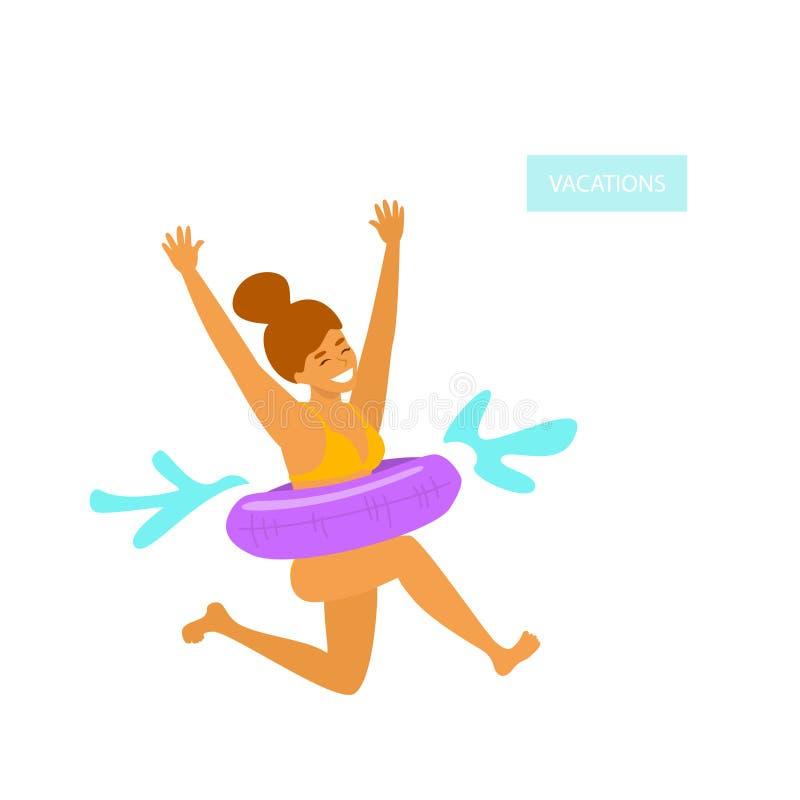 La fille mignonne avec le flotteur gonflable saute dans la piscine illustration de vecteur
