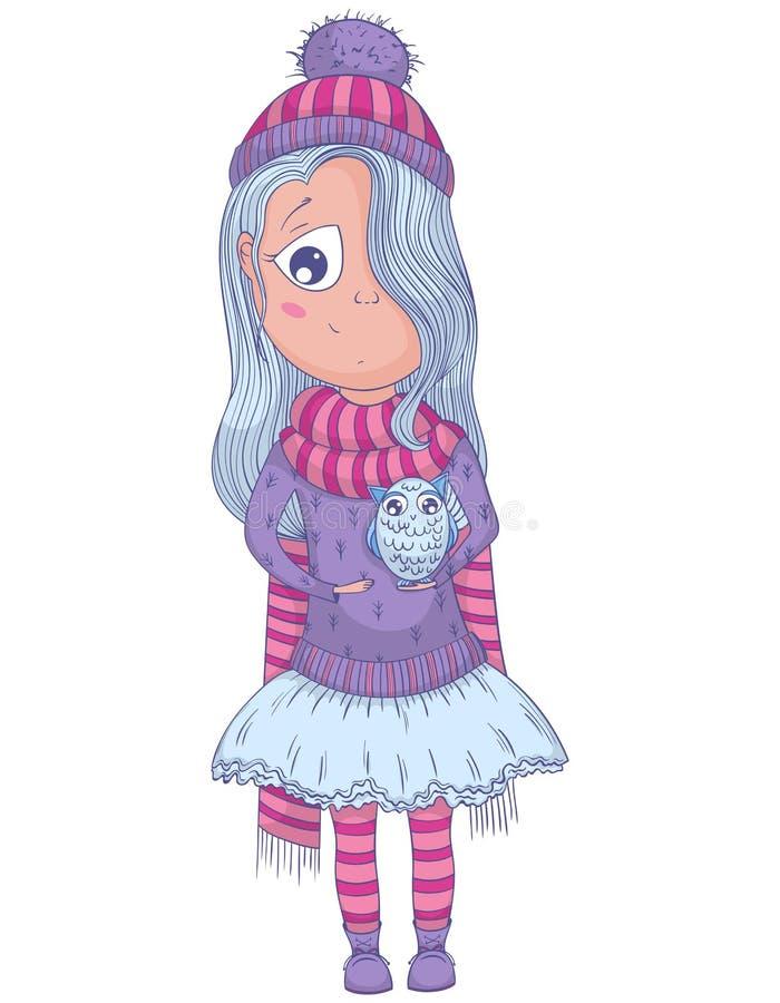 La fille mignonne d'anime en tutu et hiver vêtx avec le hibou illustration libre de droits