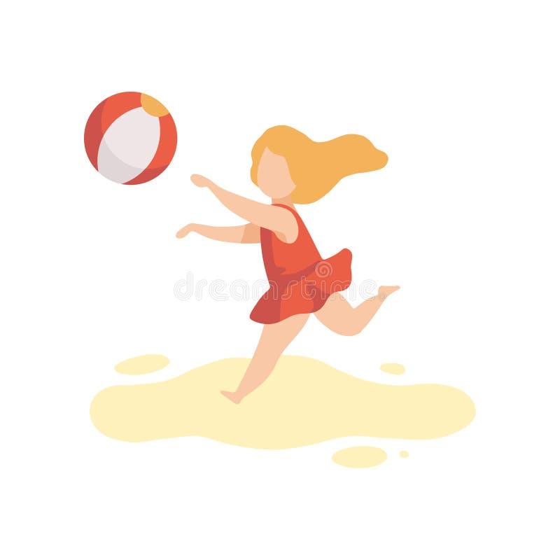 La fille mignonne dans le maillot de bain jouant avec la boule, enfant ayant l'amusement sur la plage des vacances d'été dirigent illustration stock