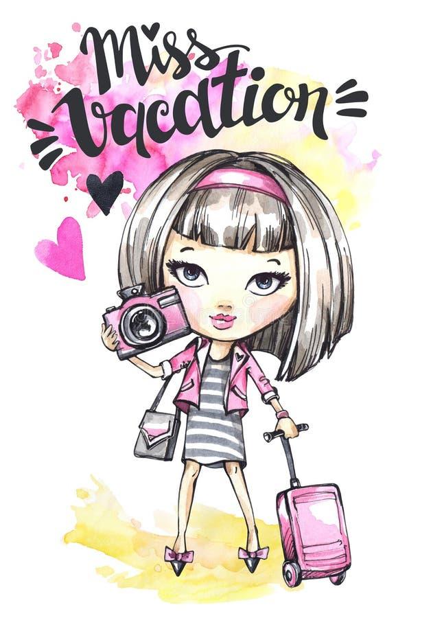 La fille mignonne de carte d'aquarelle avec l'appareil-photo et le voyage mettent en sac La calligraphie exprime Mlle Vacation illustration de vecteur