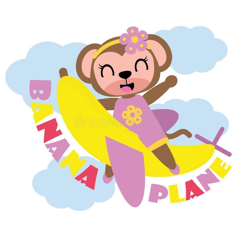 La fille mignonne de singe vole avec l'illustration de bande dessinée d'avion de banane pour la conception de T-shirt d'enfant illustration stock