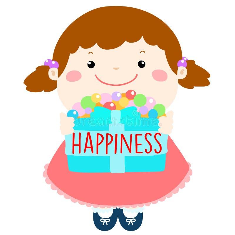La fille mignonne donnent le bonheur pour toute l'illustration illustration de vecteur