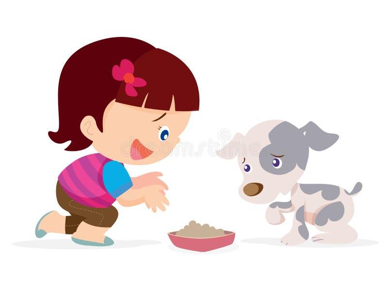 La fille mignonne donnent le chien de nourriture illustration de vecteur