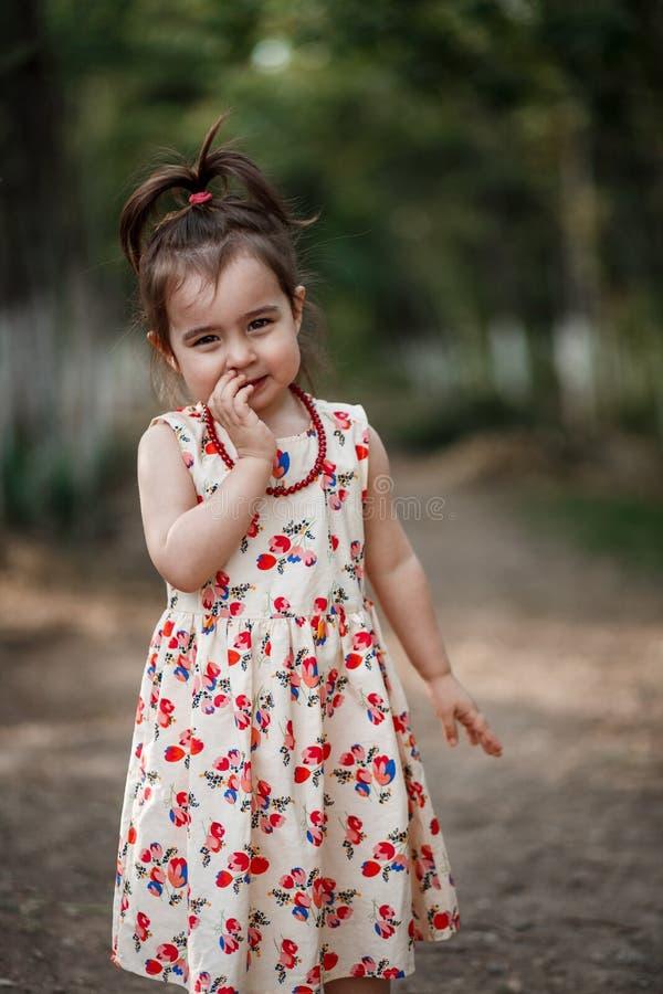 La fille mignonne et belle de peu dans une robe de cru fait des poses photo stock