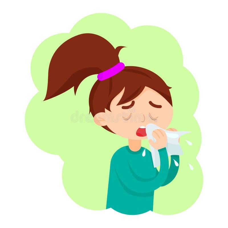 La fille mignonne ont la maladie de grippe illustration libre de droits