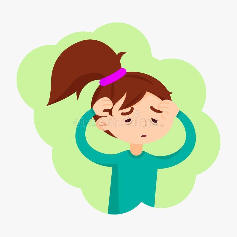 La fille mignonne ont la maladie de grippe illustration stock