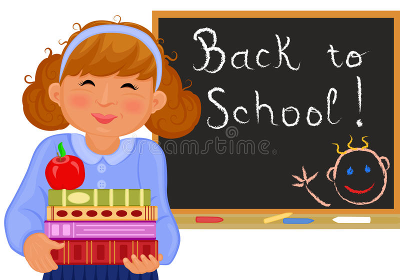 La fille mignonne retourne à l'école illustration stock