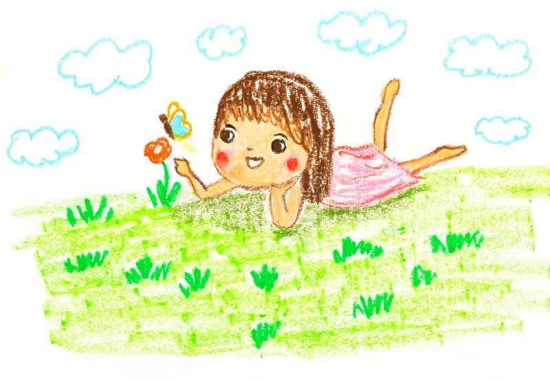 La fille mignonne se trouvant sur l'herbe verte, huilent l'illustration de dessin en pastel illustration libre de droits