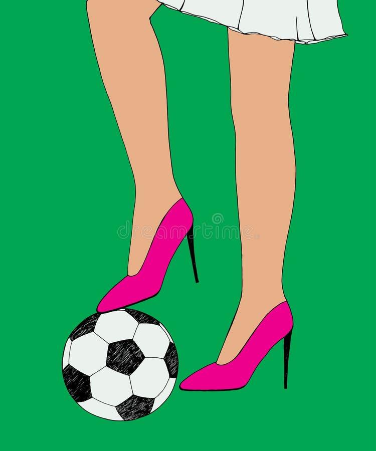 La fille mince assez jeune tient le ballon de football sous le talon de chaussure Croquis tiré par la main de couleur Illustratio illustration stock