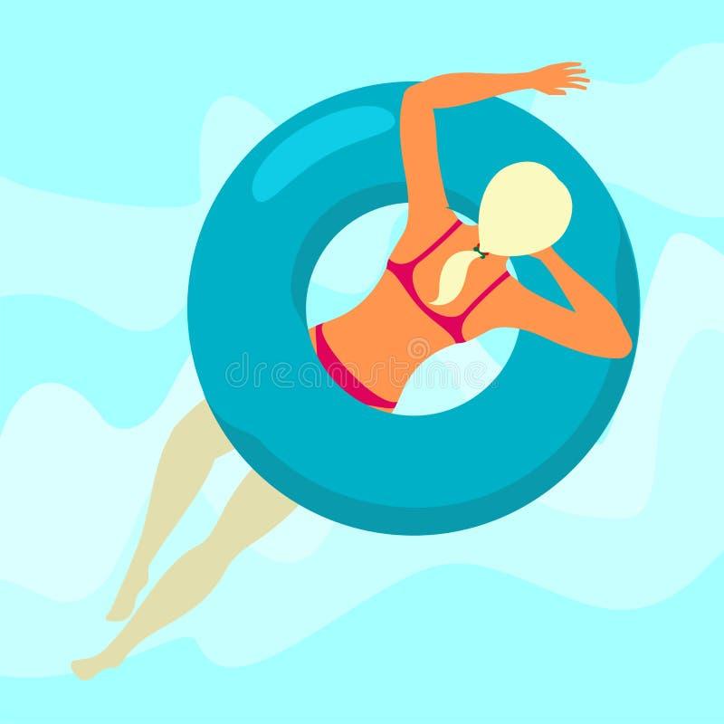 La fille nage en mer illustration de vecteur