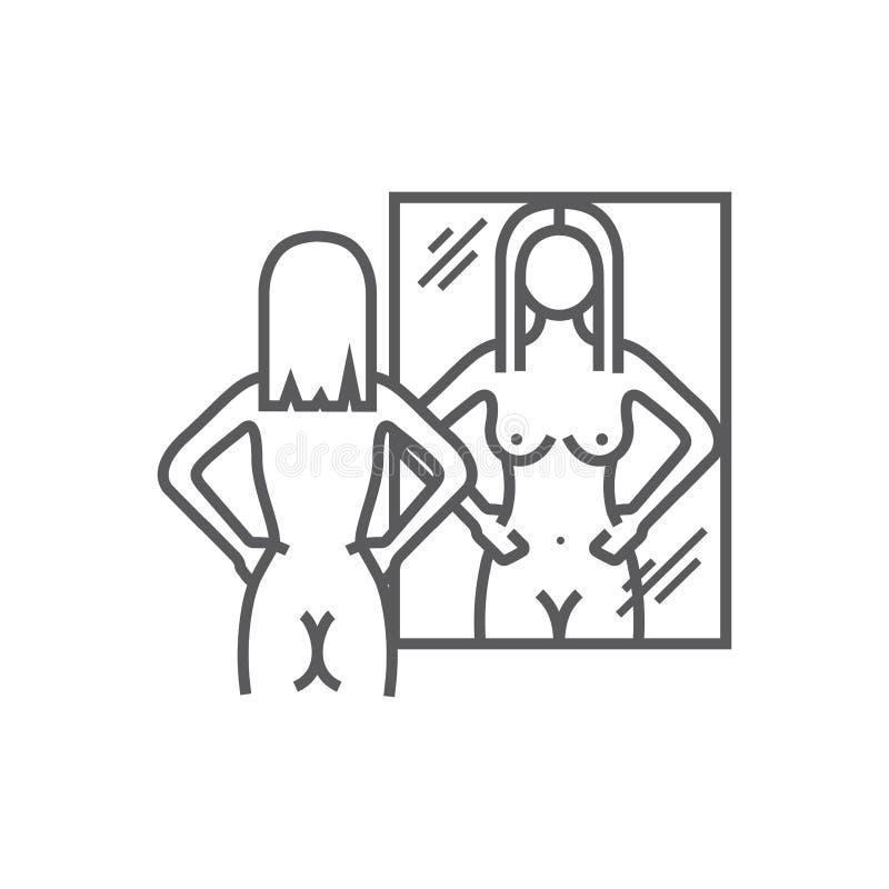 La fille nue regarde dans le miroir illustration libre de droits