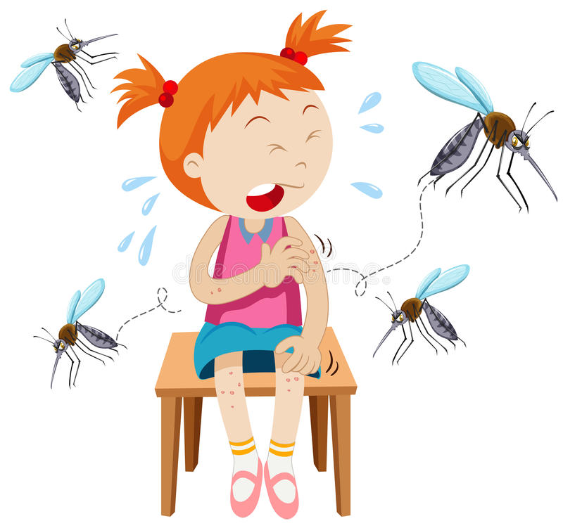 La fille obtient mordue par des moustiques illustration stock