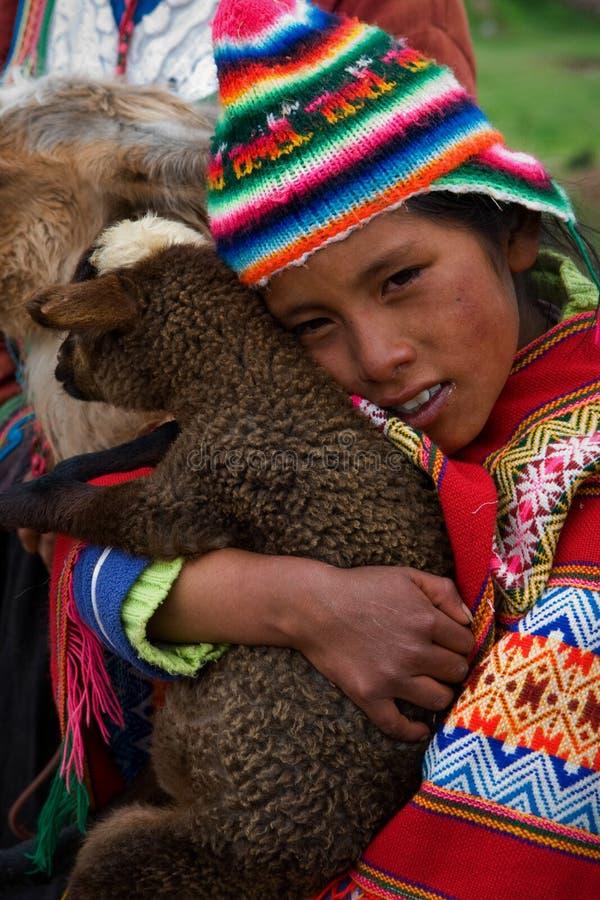 La fille p?ruvienne et l'enfant du lama. image stock
