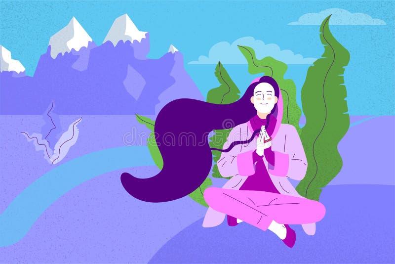 La fille plate de style avec la longue séance de cheveux a croisé à jambes avec le geste de prière illustration libre de droits