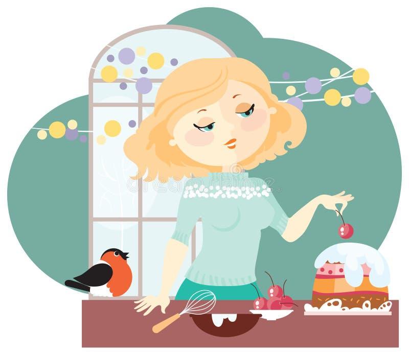La fille prépare un gâteau de fête illustration libre de droits