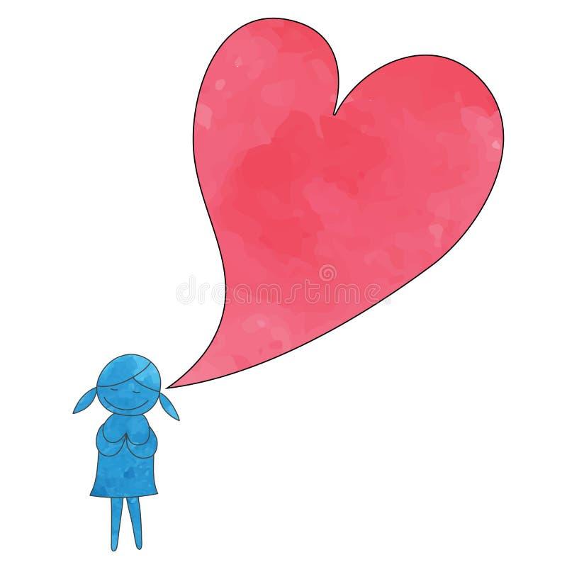 La fille prient avec le vecteur tiré par la main de style d'aquarelle rouge de coeur illustration stock