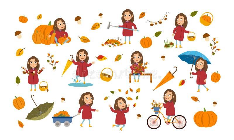 La fille réglée avec de longs cheveux bruns dans une veste d'automne joue avec des feuilles, lance un bateau de papier, monte une illustration stock