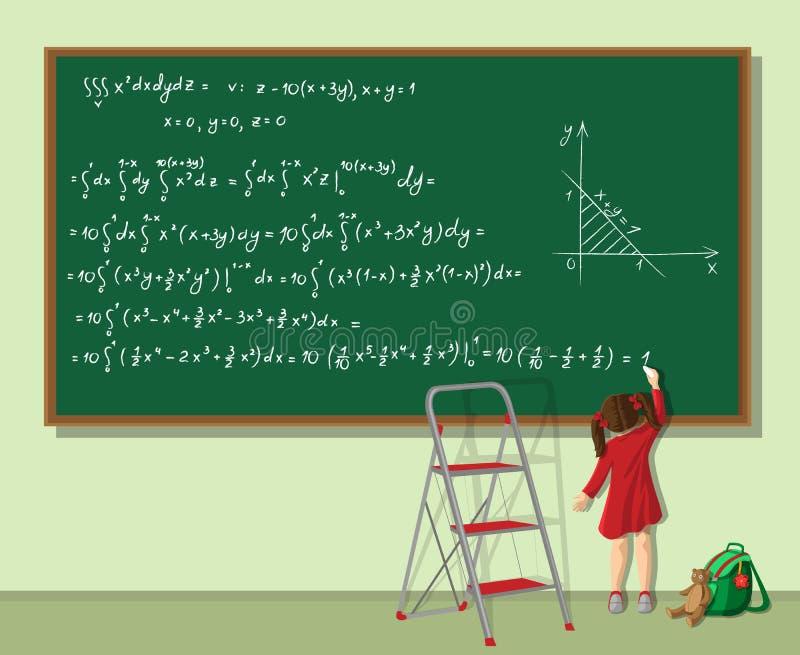 La fille résout l'équation illustration de vecteur
