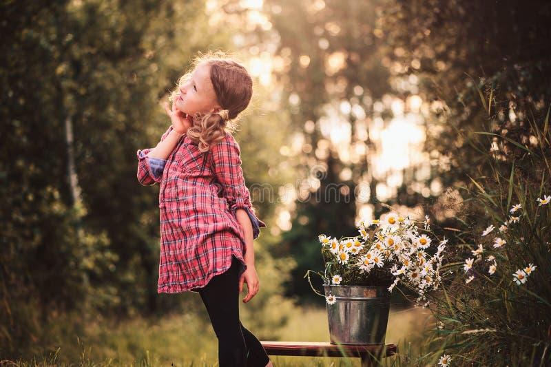 La fille rêveuse d'enfant dans la robe de plaid sur la promenade dans le jour d'été avec le bouquet de la camomille fleurit images libres de droits