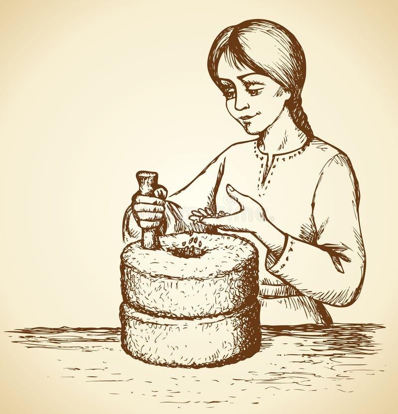 La fille rectifie le grain au moulin Retrait de vecteur illustration stock