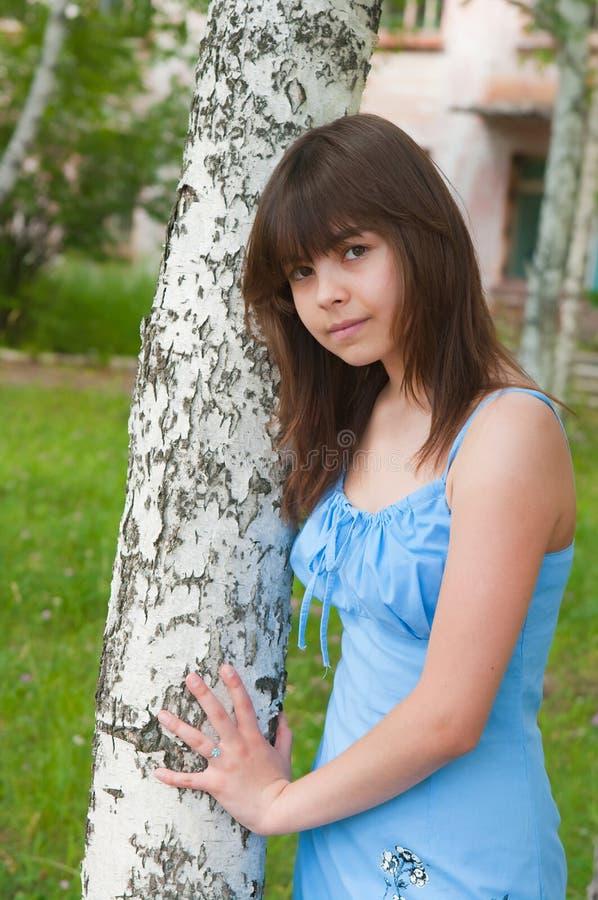La fille reste près à un bouleau photo libre de droits