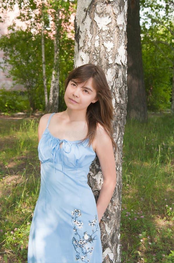 La fille romantique reste près à un bouleau photos libres de droits