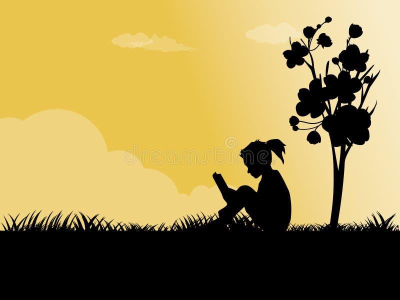 La fille s'asseyant sur une herbe illustration libre de droits